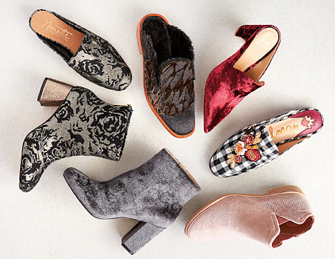 An assortment of velvet, brocade & leopard print women's boots & shoes. Trend: Material Girl. Velvet, brocade & leopard print shoes are in. Shop now.