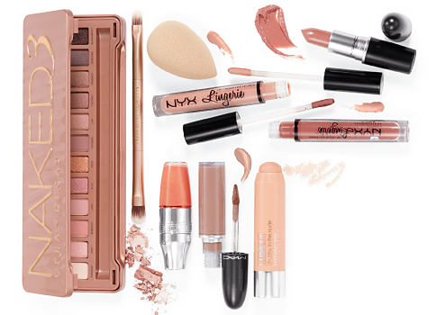 An assortment of beauty products. Fall Beauty Must-Haves. New nudes, matte makeup & a little bit of glam. Shop now.