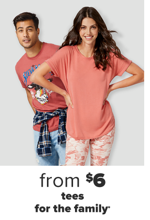 A man in a red Steve Miller graphic tee with a navy blue flannel tied around his waist and light wash jeans. A woman in a peach tee and matching peach patterned leggings. $10 adults' and $8 kids' tees and leggings.