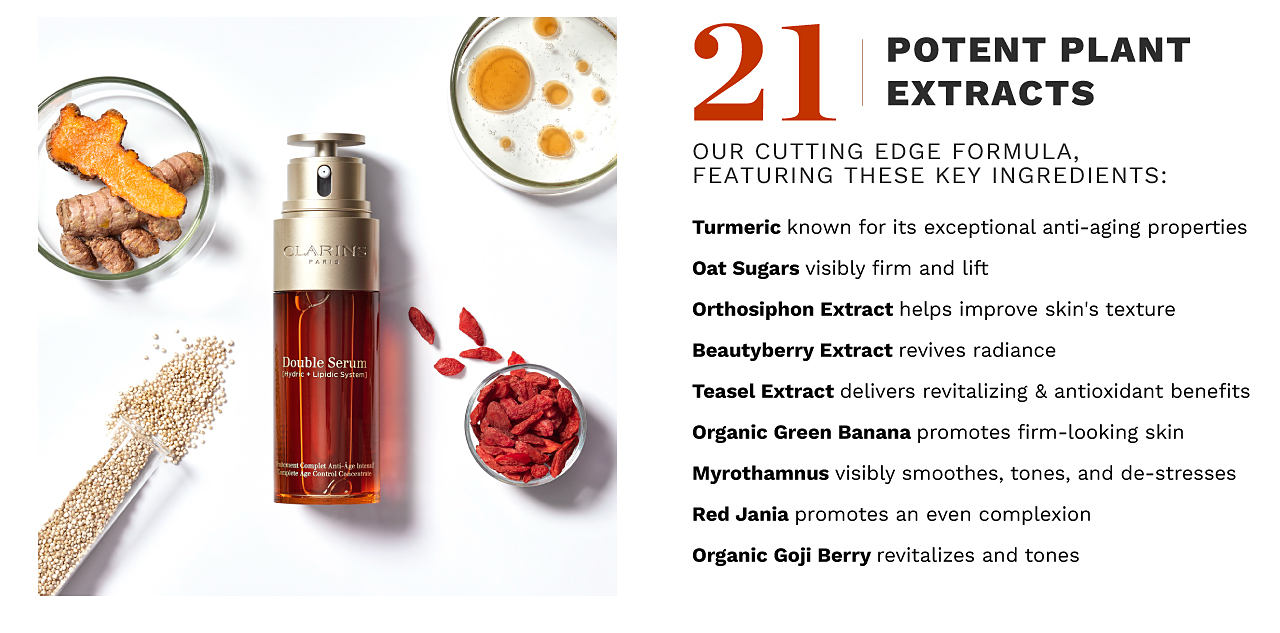 A bottle of Double Serum surrounded by its 21 ingredients. 21 potent plant extracts. Our cutting edge formula, featuring these key ingredients, Tumeric, Oat Sugars, Orthosiphon Extract, Beautyberry Extract, Teasel Extract, Organic Green Banana, Myrothamnus, Red Jania, and Organic Gogi Berry.