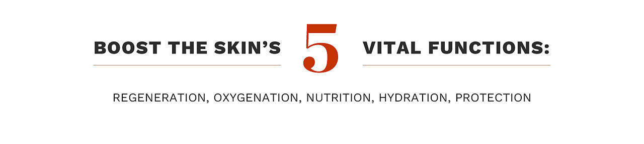 Boost the skin's 5 vital functions: regeneration, oxygenation, nutrition, hydration, protection