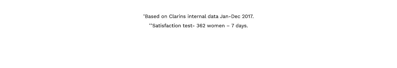 Based on Clarins internal data Jan through Dec 2017. Satisfaction test, 362 women 7 days.