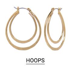 Gold tone hoop earrings. Shop hoops.