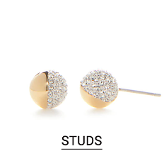 Gold tone & cubic zirconia stud earrings. Shop studs.