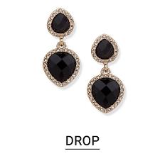 Silver tone & black drop earrings. Shop drops.