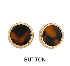 Gold tone & brown button earrings. Shop buttons.