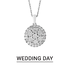 A silver & diamond pendant necklace. Shop wedding day jewelry.