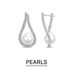 Silver & pearl drop earrings. Shop pearls.