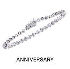 A silver bracelet. Shop anniversary jewelry.