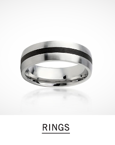 A silver tone men's ring with a black stripe in the middle. Shop men's rings.