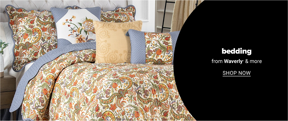 A warm toned paisley bedding set with blue accents and a matching pillow set. Bedding from Waverly and more. Shop now.
