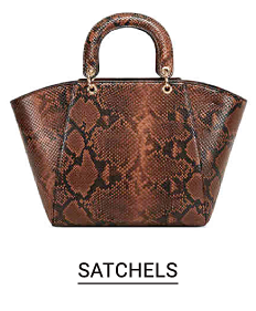 A brown snakeskin satchel. Satchels.