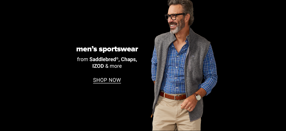 A man in a blue and navy blue checkered shirt, with a fleece vest, a brown belt, a brown watch and khaki pants. Men's sportswear from Saddlebred, Chaps, IZOD and more. Shop now.