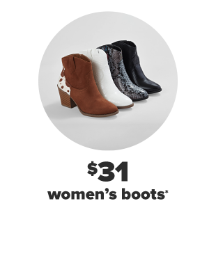 The same women's boot in four different colors. One is brown with a cow hyde pattern, one is white, one is black snakeskin and the other all black. $31 women's boots and shoes.