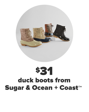 Four duck boots. One brown, one brown with leopard print, one gold glitter and one pink glitter. $31 duck boots from Sugar and Ocean and Coast.