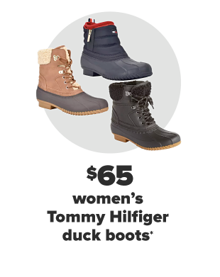 Three Tommy Hilfiger duck boots.. One is green, one brown, and one brown with sherpa accents. From $65 women's and men's Tommy Hilfiger duck boots.