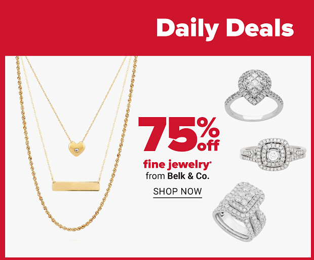 Three gold pendants and three diamond rings. Seventy five percent off fine jewelry from Belk and Co. Shop now.