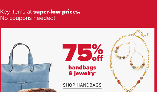 A blue leather handbag and a leopard print wristlet. A matching gold necklace and earrings with warm, earthy colored gemstones. Seventy five percent off handbags and jewelry. Shop handbags. Shop jewelry.