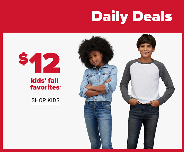 A girl in a buttoned up denim jacket and blue jeans. A boy in a white shirt with long gray sleeves and dark blue jeans. Twelve dollar kids fall favorites. Shop kids.