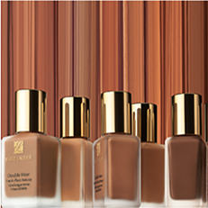 Several bottles of fonudation in different shades. Shop double wear.