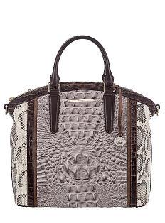 A gray & black croco leather & snakeskin handbag. Shop Brahmin.