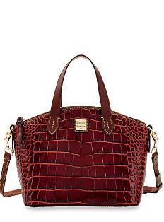 A burgundy croco leather handbag with gold hardware detail. Shop Dooney & Bourke.