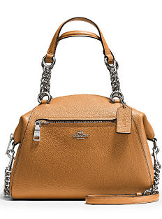 A brown pebbled leather handbag with silver chain hardware. Shop Coach.
