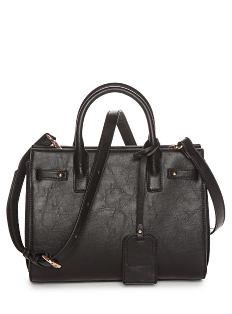 A black leather handbag. Shop Belk exclusives.