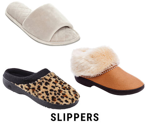 An assortment of women's slippers. Slippers. Shop now.