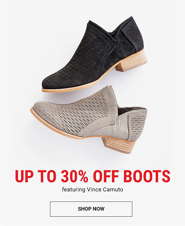 A gray suede women's boot & a black suede women's boot. Up to 30% off women's boots featuring Vince Camuto. Shop now.