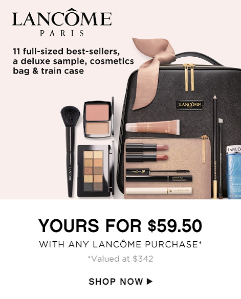 Lancome Paris - 11 Full-Sized Best-Sellers, a Deluxe Sample, Cosmetics bag & Train Case - Yours for $59.50 with any Lancome Purchase* *Valued at $342 - Shop Now