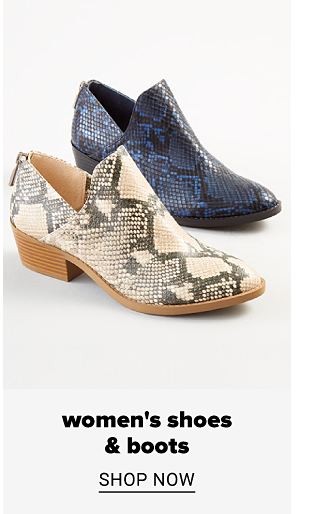 A blue and black snakeskin bootie and a beige and black snakeskin bootie. Women's shoes and boots. Shop now.