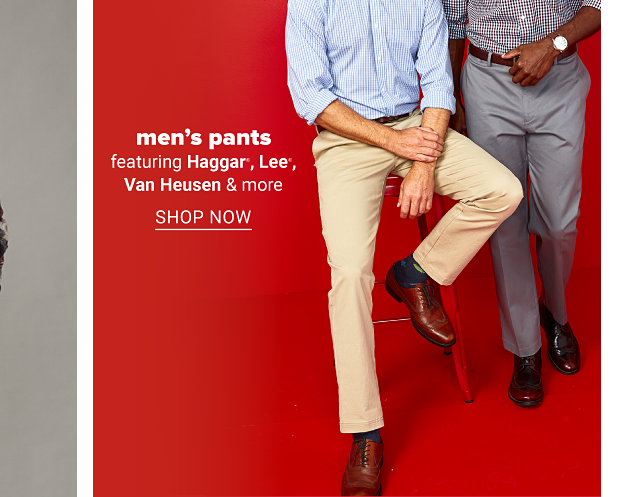 A man in a blue dress shirt, khaki pants, brown shoes and a brown belt. A man in a light purple dress shirt, gray dress pants, a brown belt and shoes. Men's pants featuring Haggar, Lee, Van Heusen and more. Shop now.
