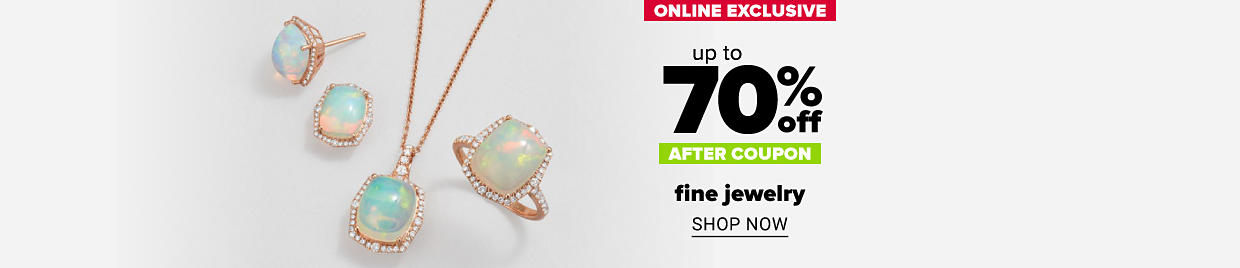 A pair of opal earrings, an opal ring and an opal pendant necklace. Online exclusive. Up to 70% off, after coupon, fine jewelry. Shop now.
