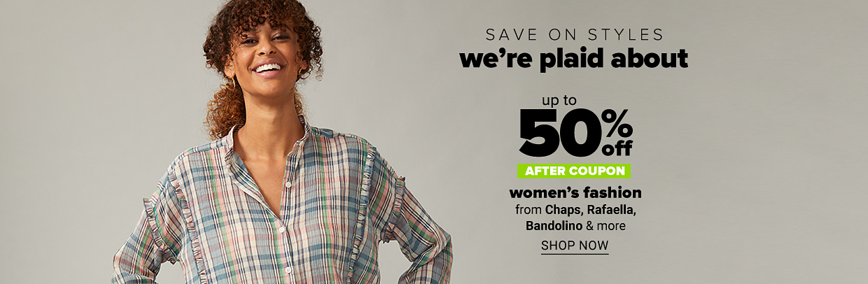 A woman in a light blue, light pink and beige plaid top. Save on styles we're plaid about. Up to 50% off after coupono. Women's fashion from Chaps, Rafaella, Bandolino and more. Shop now.