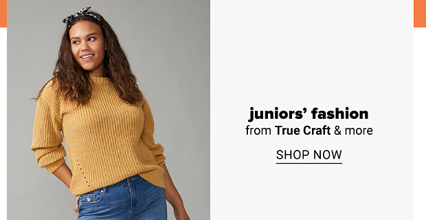 A young woman in a yellow sweater and jeans. Juniors' fashion from True Craft and more. Shop now.