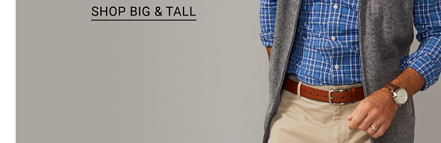 A man in a blue plaid long sleeve shirt, a gray vest, khaki pants and brown belt. Men's fashion featuring Saddlebred, Chaps, Izod and more. Shop men. Shop big and tall.