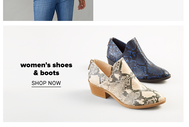Blue and black, and beige and black snakeskin print boots. Women's shoes and boots. Shop now.