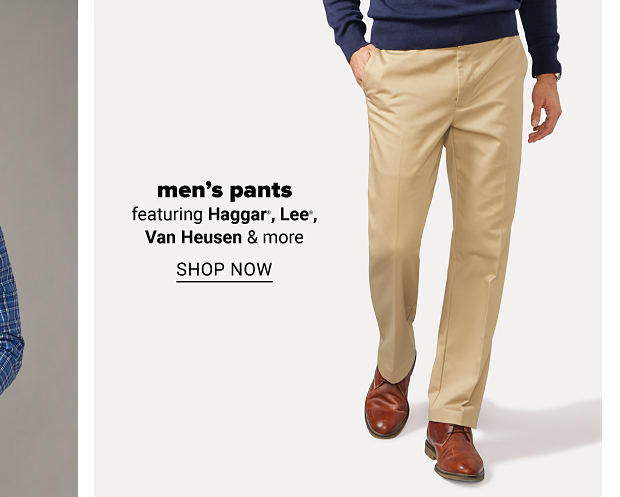 A man in a navy sweater, khaki pants and brown shoes. Men's pants featuring Haggar, Lee, Van Heusen and more. Shop now.