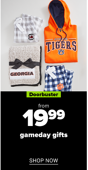 A variety of team logo gifts, including pillows and blankets. Doorbuster. From 19.99 gameday gifts. Shop now.