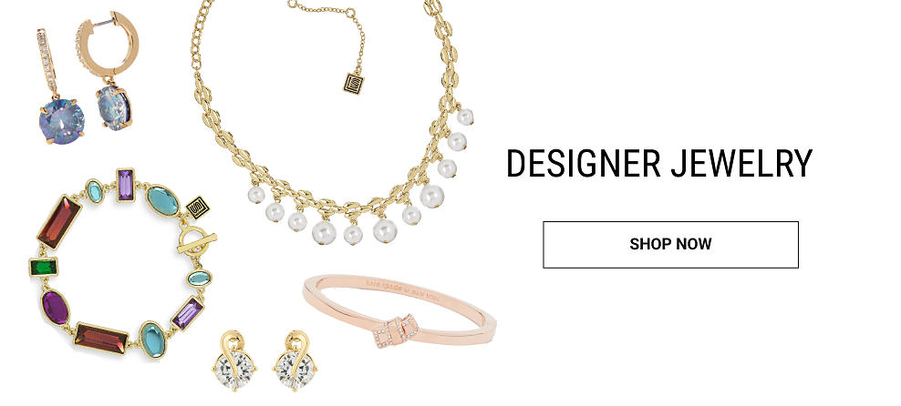 An assortment of designer jewelry bracelets, necklaces, rings & earrings. Designer jewelry. Shop now.