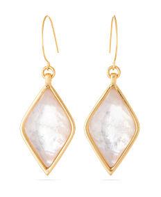 A pair of diamond-shaped crystal & gold earrings. Shop fashion jewelry earrings.