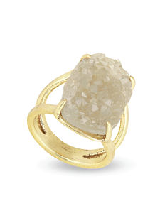 A crystal nugget & gold band ring. Shop fashion jewelry rings.