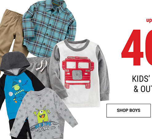An assortment of boys' clothes. Up to 40% off kids' sets & outfits. Shop boys.