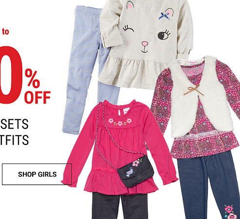 An assortment of girls' clothes. Up to 40% off kids' sets & outfits. Shop girls.