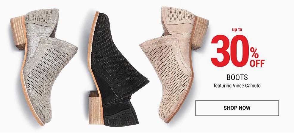A black suede women's shoe, a gray suede women's shoe & a beige suede women's shoe. Up to 30% off boots featuring Vince Camuto. Shop now.