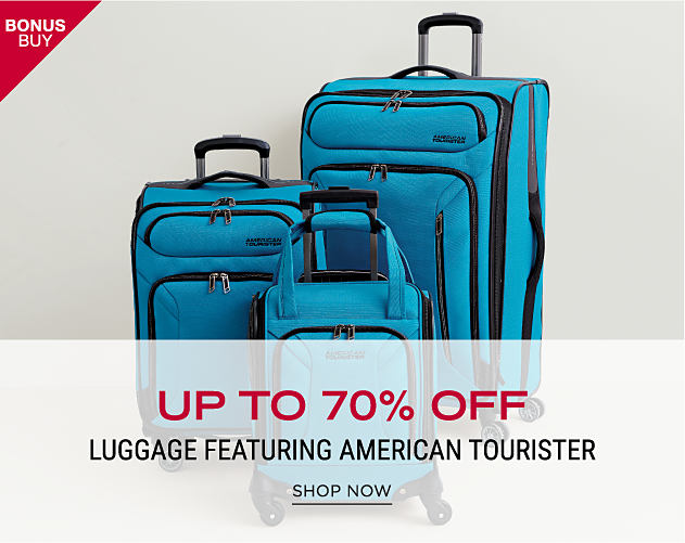 A blue & black 3 piece wheeled luggage set. Bonus Buy. Up to 70% off luggage featuring American Tourister. Shop now.
