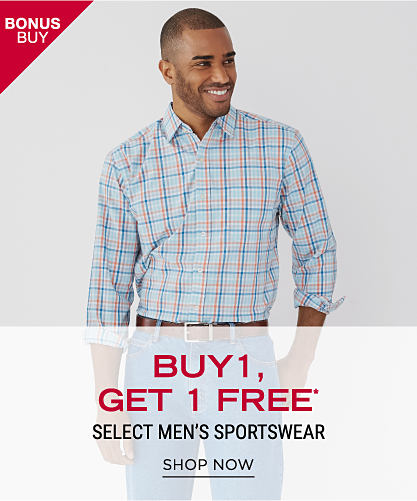 A man wearing a multi-colored plaid long-sleeved button-front shirt. Bonus Buy. Buy 1, Get 1 Free select men's sportswear. Free item must be of equal or lesser value. Shop now.