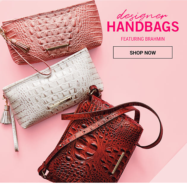 An assortment of croco leather clutches & handbags in a variety of colors. Deisgner Handbags featuring Brahmin. Shop now.