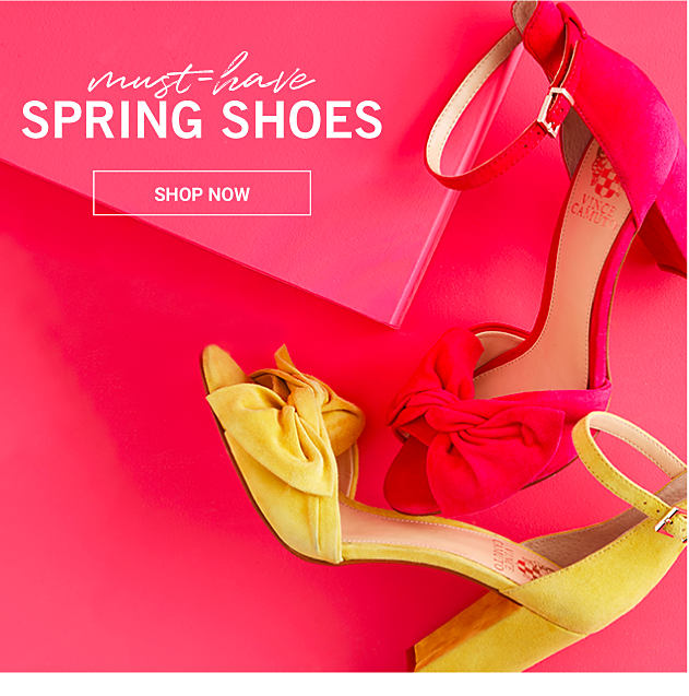 A red strappy heel & a yellow strappy heel. Must-Have Spring Shoes. Shop now.